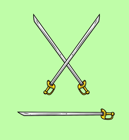 buckler: Cross Swords Vector Illustration