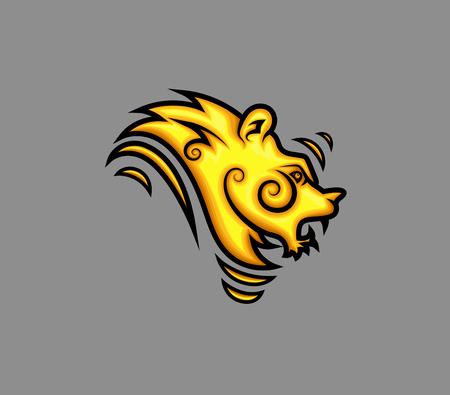 growling: Retro Tribal Lion Tattoo Design Illustration