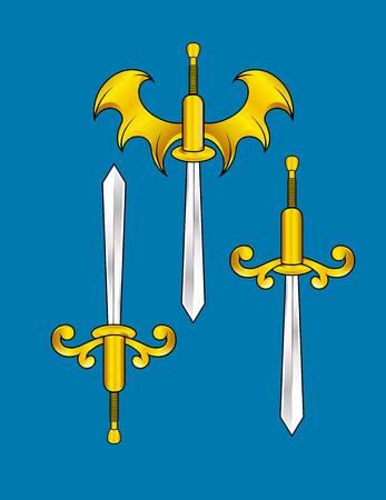 Ancient Stylish Swords Illustration