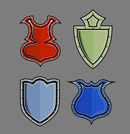 swordsmanship: Medieval Vintage Shields Illustration