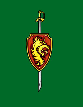 swordsmanship: Tribal Lion Shield with Sword