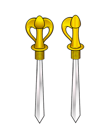 buckler: Golden Handle Swords Vector