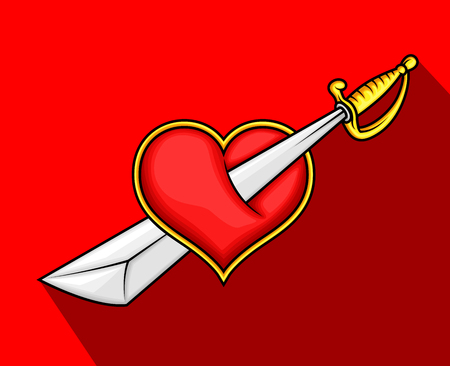 Heart Killed with Sword Illustration