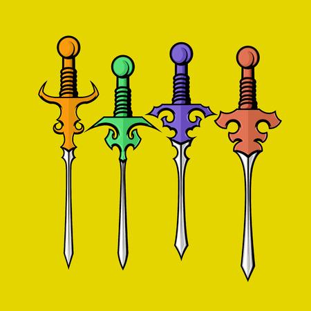 buckler: Colorful Ancient Swords Illustration