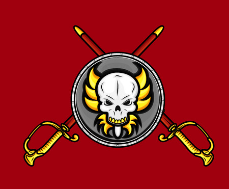 Retro Skull Shield with Cross Swords