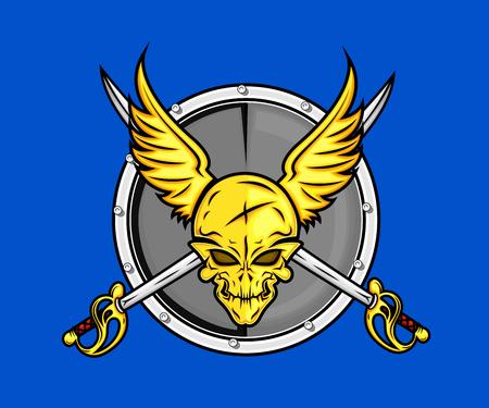 battle evil: Pirate Skull Shield with Swords
