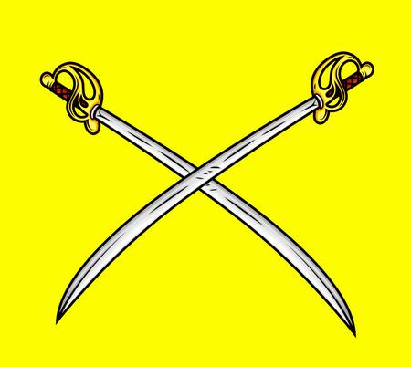 ninja tool: Cross Retro Swords Illustration