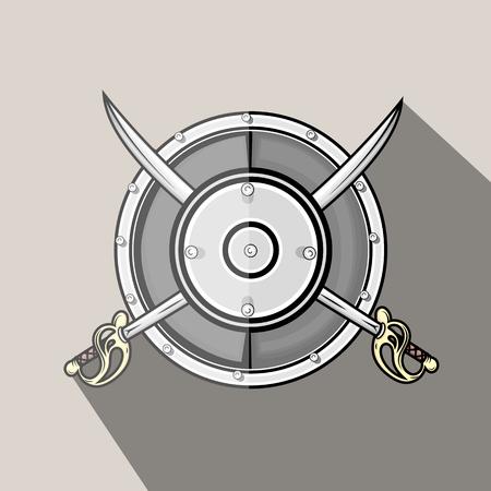 swordsmanship: Vintage Cross Swords with Shield Vector
