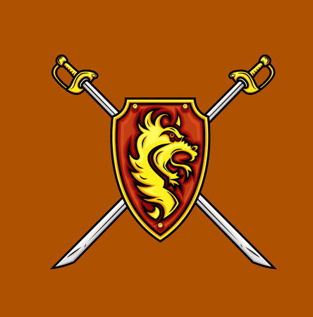 Heraldisches Schild mit Schwertern Vektorgrafik
