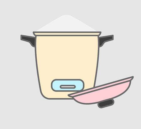 rice cooker: Rice Preparing in Rice Cooker Vector Illustration Illustration