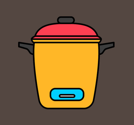rice cooker: Electronic Rice Cooker Vector Illustration