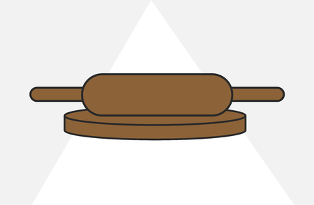 rolling pin: Rolling Pin with Base Roller Illustration