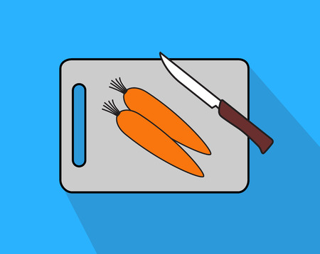 veg: Carrot with Knife and Chopping Board Illustration