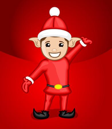 Joyful Kid Elf Dancing Illustration
