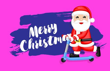 Santa Riding Scooter Christmas Banner