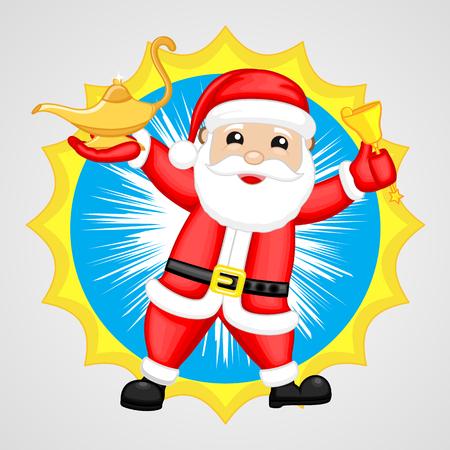 lampara magica: Santa Claus Showing a Magic Lamp and a Bell Vectores