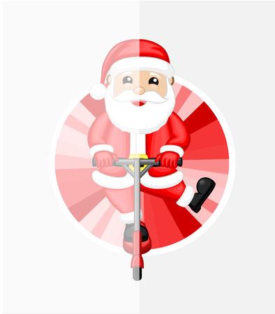 bounce: Santa on Bounce Rod Illustration