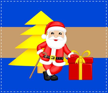 Happy Santa with Xmas Tree and Gift Box