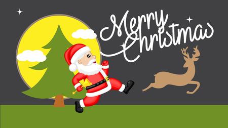 Santa Running Behind Reindeer Vector Illustration