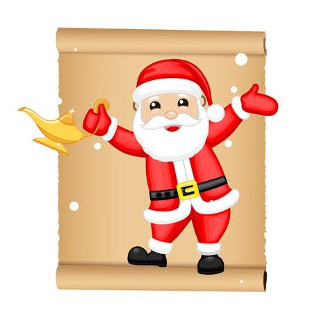 lampara magica: Santa feliz con la ilustración vectorial Magic Lamp