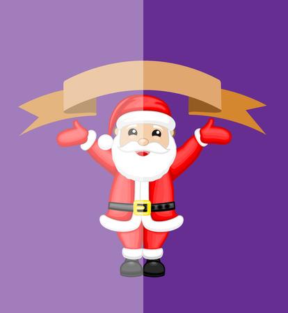 Santa Claus Presenting a Blank Banner