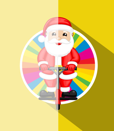 bounce: Santa Standing on Bounce Rod Illustration