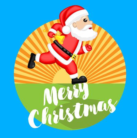 Running Santa Christmas Graphic Illustration