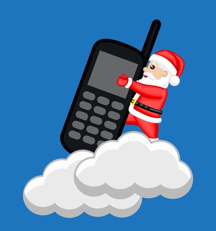 Santa Claus Holding a Phone Over the Clouds