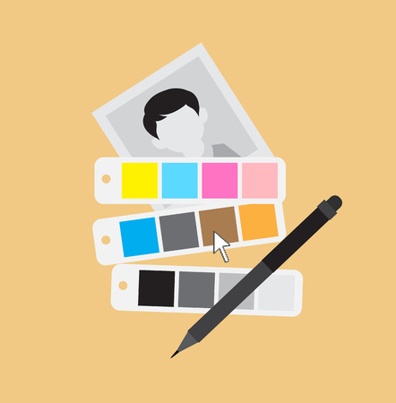 swatch: Picture with Swatch and Pen Tool for Editing and Effects Illustration
