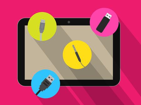 audio plug: Connectors Option in Tablet Vector Illustration
