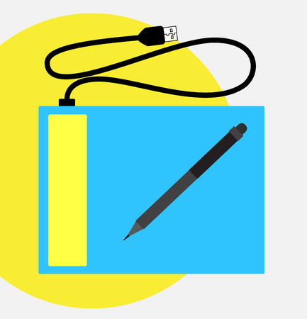input device: Simple Graphic Tablet with Pen Vector Illustration