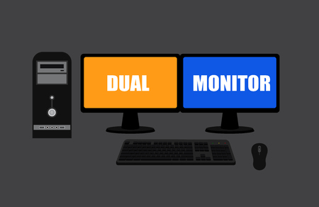 input output: Dual Display Monitors Computer Vector Illustration