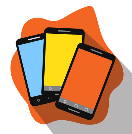 touch screen: Colorful Touch Screen Mobiles Vector Illustration