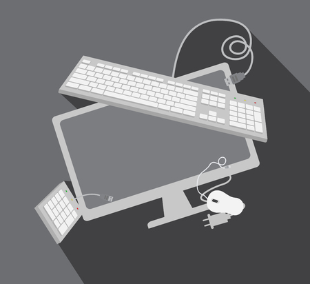input output: Tech Gadgets Vector Elements Illustration