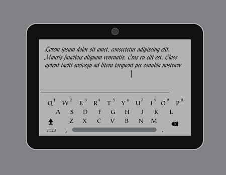 display size: Message Typing in Tablet Vector Illustration Illustration