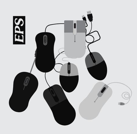 computer mouse: Waste Computer Mouse Set Illustration