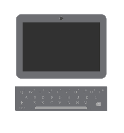 display size: Tablet with Keyboard Vector