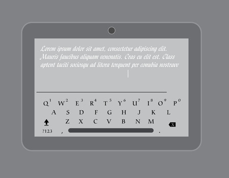 display size: Messaging with Tablet Vector