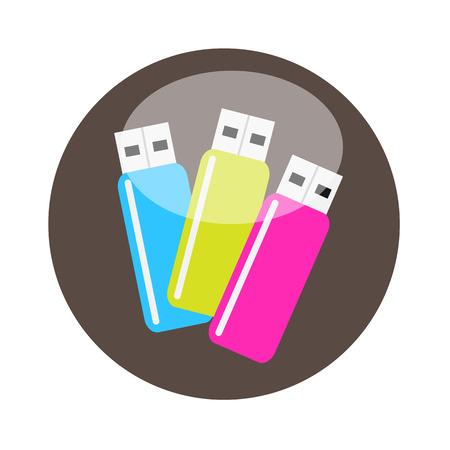 Colorful USB Flash Drives Illustration