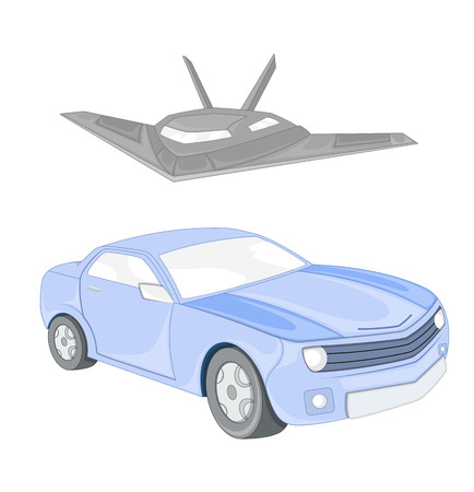 Car and Jet Vector Illustration