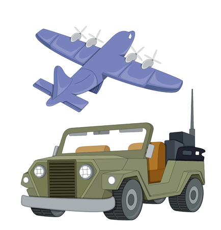 Plane and suv Vector