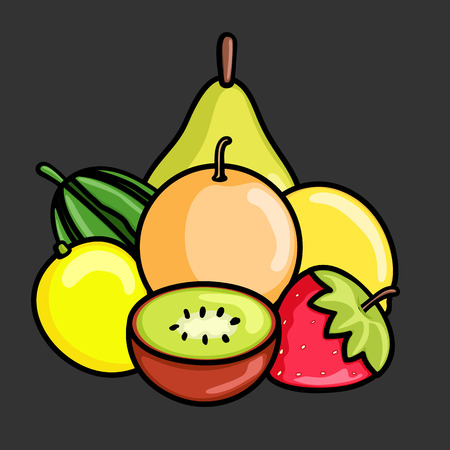 mix: Mix Healthy Fruits Vector Illustration