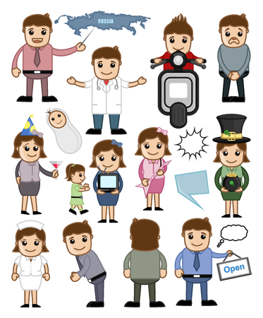 Business People and Holiday Cartoon Graphic Vectors