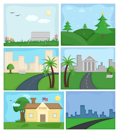 Cartoon Nature Backgrounds and Skylines Ilustração