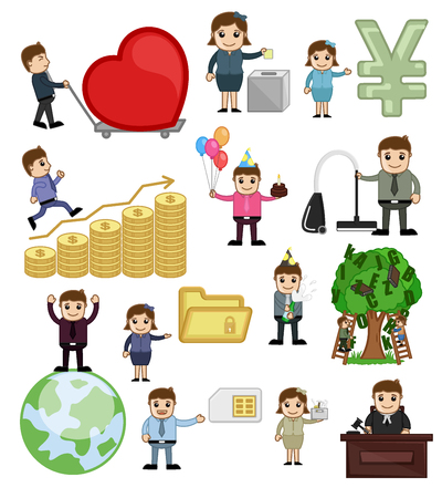 Business, Holiday and Technology Cartoon Illustration Illustration