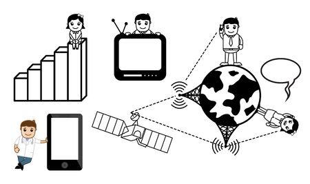 Business Communication Cartoon Set Illustration