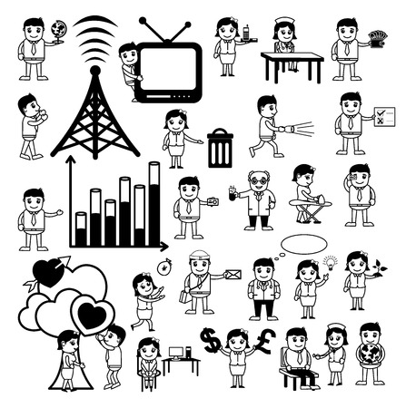 Cartoon Concepts Vectors of Communication and Professions