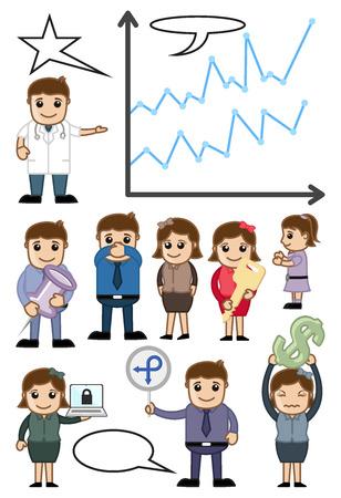 Cartoon Business Advertisement Conceptual Vector Graphics