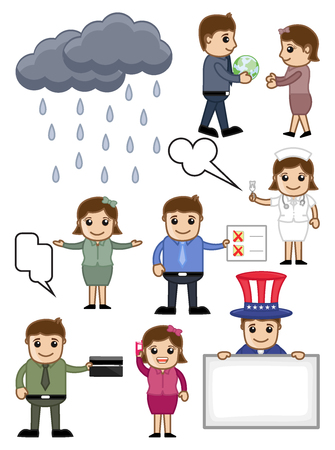 Various Cartoon Vector Set Illustration