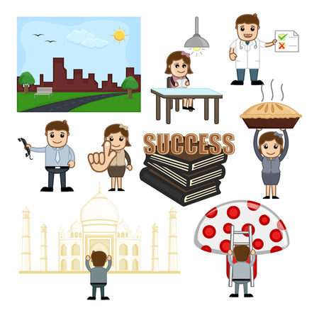 Cartoon Character Graphics of Education and Travel